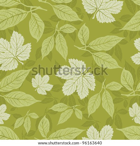 RASTER seamless floral pattern with leafs