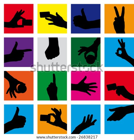 Raster Seamless  gestures background (Vector version 22404409) - stock photo