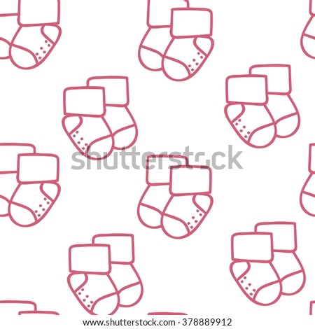raster seamless pattern for web design, prints etc. Repeating background with little socks can be copied without any seams. Children theme.Baby shower invitation card template.  - stock photo