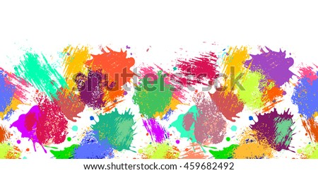 Raster seamless pattern with watercolor ink blots, splash and brush strokes. Horizontal banner, seamless border. Colorful creative artistic background. Series of Drawn  Blots, Brush, Strokes.