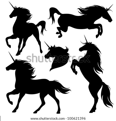 raster - set of fine unicorn silhouettes - running, rearing and jumping magic horses (vector version is available in my portfolio) - stock photo