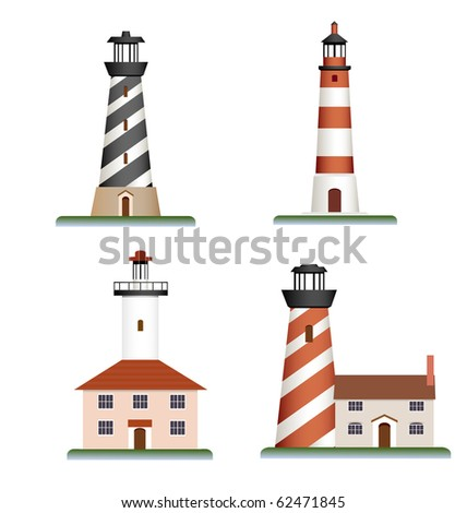 raster: set of lighthouses - stock photo