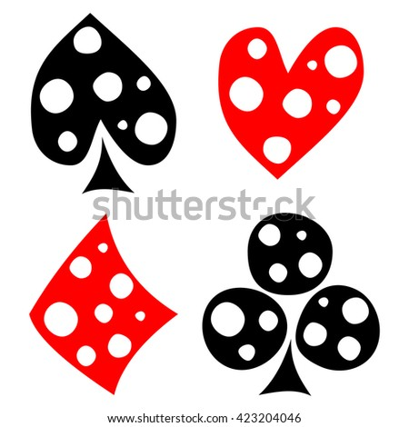 Raster set of playing card symbols. Hand drawn black and red icons with white dots, isolated on the backgrounds. Graphic illustration
