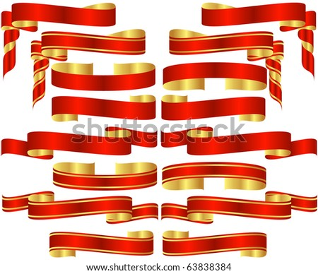 Raster Set of Red Banner Scrolls with Golden Accents - stock photo