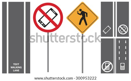 Raster set shows road traffic pedestrian signs. first mobile phone sidewalks lane isolated on white - stock photo