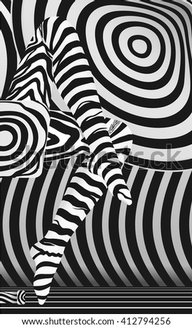 Raster sexy legs in zebra striped stocking abstract concept - stock photo