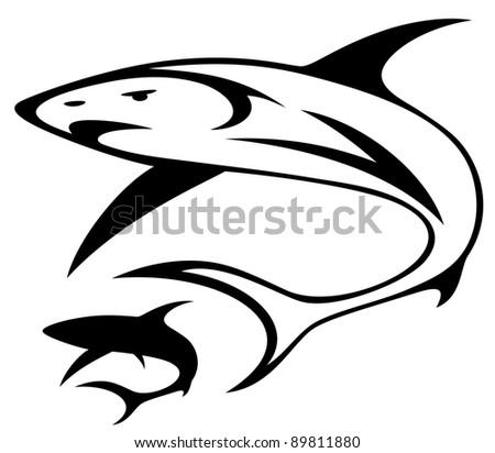 raster - shark illustration (vector version is available in my portfolio) - stock photo