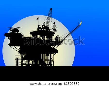 Raster. Silhouette of an oil platform in the moon light - stock photo