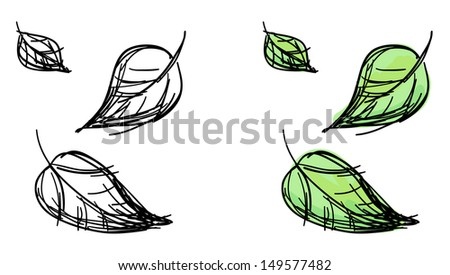 Raster sketch of falling leaves. Black and white and colorful green variants. - stock photo
