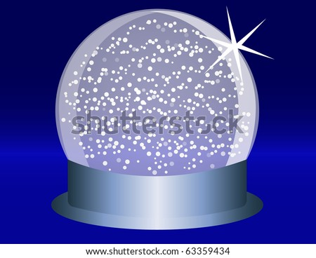 Raster Snowglobe on a Blue Steel Base With Falling Snow - stock photo