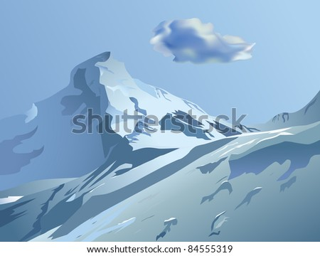 raster snowy mountains with blue sky and cloud, vector version available
