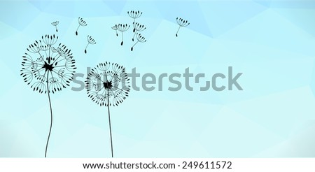 Raster summer and spring background, banner with dandelion