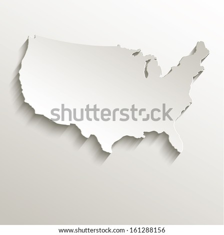 raster USA map card paper 3D natural - stock photo