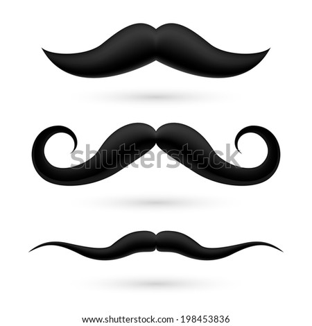 Raster version. A set of three black wax moustache on white.