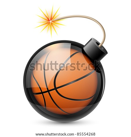 Raster version. Abstract basketball shaped like a bomb. Illustration on white background for design - stock photo