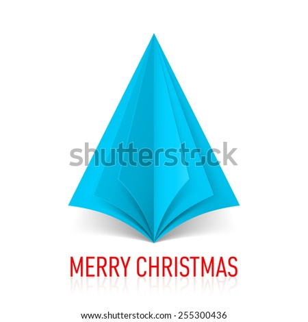 Raster version. Abstract blue paper Christmas tree on white background.  - stock photo