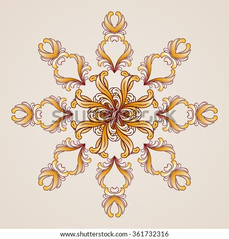 Raster version. Abstract floral pattern element in  form of flower - stock photo