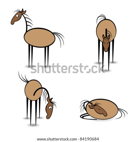 Raster version. Abstract four horses in different positions. Illustration on white background - stock photo