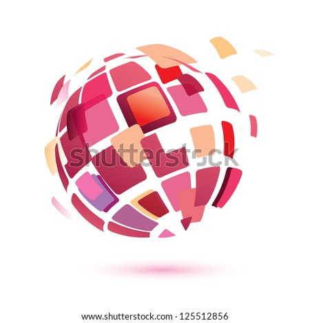 Raster version. abstract globe symbol, isolated icon, business concept - stock photo