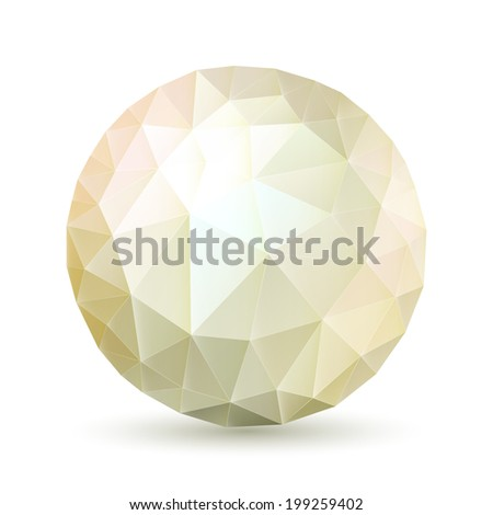 Raster version. Abstract polygonal sphere in ght shades on white background - stock photo