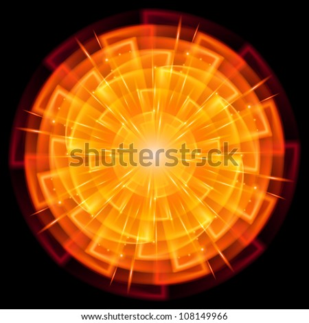 Raster version. Abstract Star Explosion. Illustration on black background - stock photo