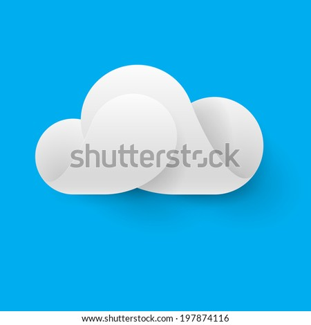 Raster version. Abstract white cloud made of curved elements on blue background. Cloud computing - stock photo