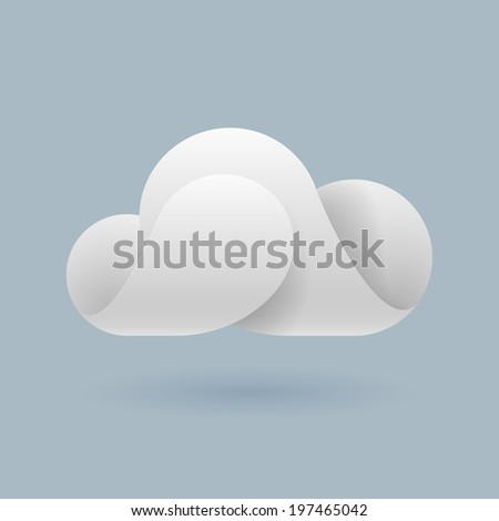 Raster version. Abstract white cloud made of curved elements on blue grey background. Cloud computing - stock photo