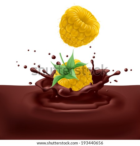Raster version. Appetizing yellow raspberries dipping into chocolate with splashes - stock photo