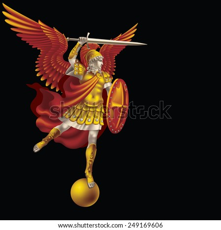 Raster version / Attacking colorful angel with a sword on a black background - stock photo