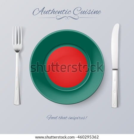 Raster version. Authentic Cuisine of Bangladesh. Plate with Bangladeshi Flag and Cutlery