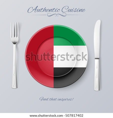 Raster version. Authentic Cuisine of United Arab Emirates. Plate with Flag and Cutlery