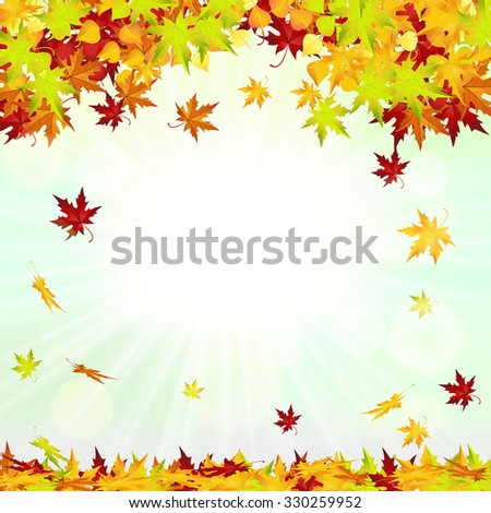 Raster version. Autumn Frame With Falling Leaves on Sky Background. Elegant Design with Rays of Sun  Illustration. - stock photo
