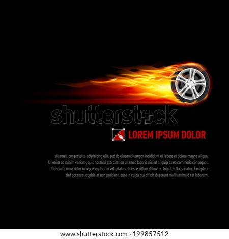 Raster version. Background with wheel in orange flame for your design - stock photo