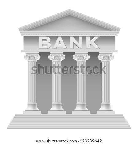 Raster version. Bank building symbol. Illustration on white background - stock photo