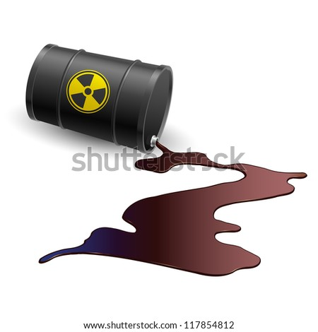 Raster version. Barrel throwing toxic liquid. Illustration on white - stock photo