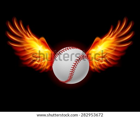 Raster version. Baseball fiery wings, a color illustration on a black background - stock photo