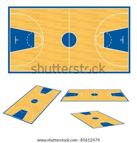 Raster version. Basketball court floor plan. Illustration on white background. - stock photo