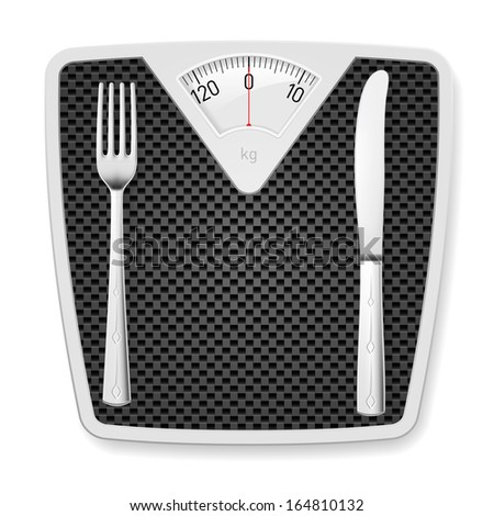 Raster version. Bathroom scales with fork and knife as concept of diet and overweight.