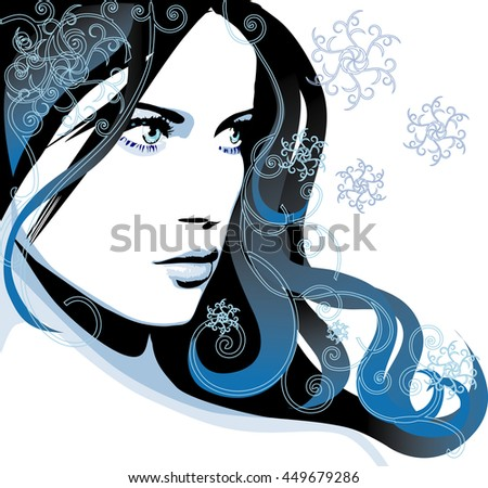 Raster version. Beautiful young girl with snowflakes in long blue hairs. Winter banner - stock photo