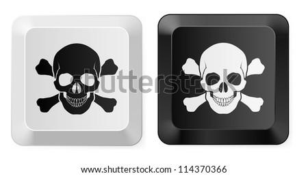 Raster version. Black and White Skull button. Illustration for design - stock photo