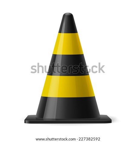 Raster version. Black and yellow traffic cone. Safety sign used for prevention of accidents during road construction