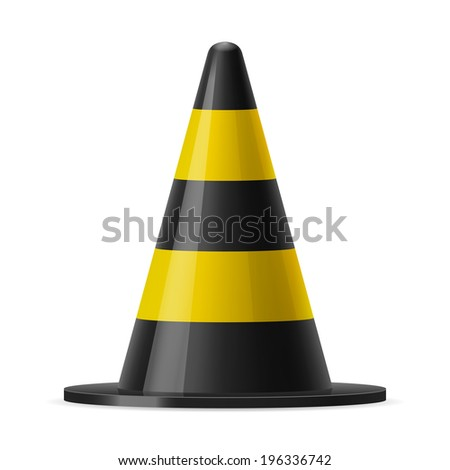 Raster version. Black and yellow traffic pylon. Sign used for road safey during construction or accidents
