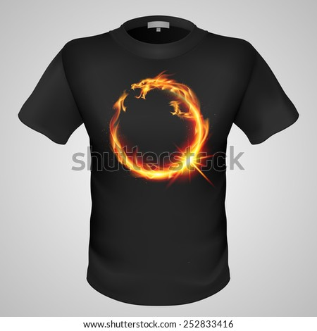 Raster version. Black male t-shirt with fiery eastern dragon print on grey background.  - stock photo