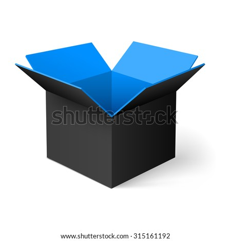 Raster version. Black opened square box with blue color inside