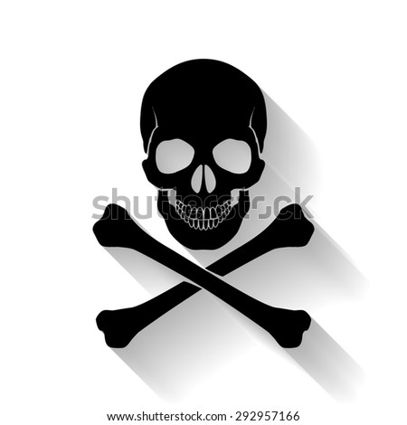 Raster version. Black skull and cross-bones on white background as symbol of danger - stock photo