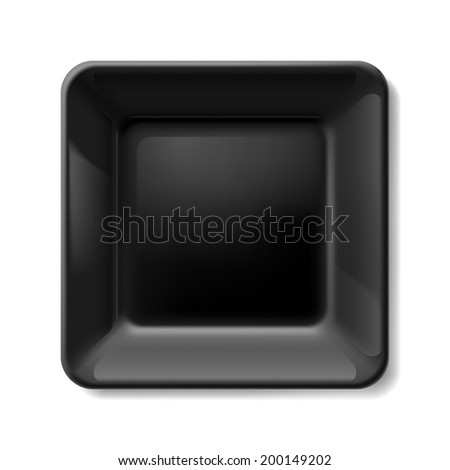 Raster version. Black square plate isolated on white background
