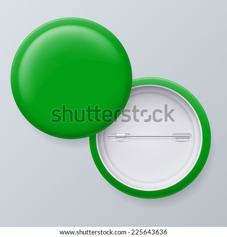 Raster version. Blank Green Badges with place for your text isolated on gray background  - stock photo
