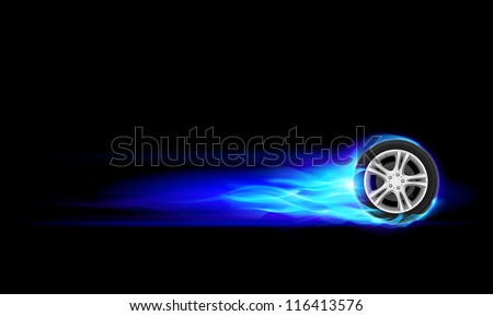 Raster version. Blue Burning wheel. Illustration on black background - stock photo