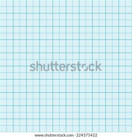 Raster version. Blue millimeter paper, image, seamless background - stock photo
