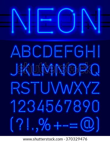 Raster version. Blue set neon font and symbols isolated on black